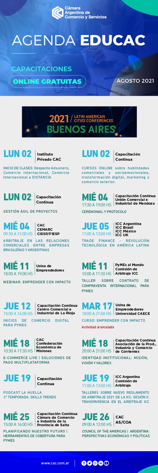 Cursos, conferencias, webinars y capacitaciones de la CAC